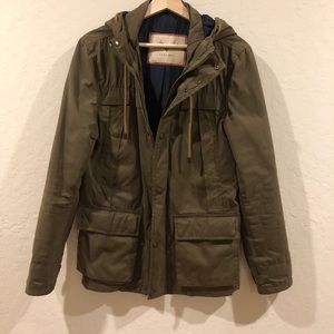 Zara Man Green Parka W Hood Jacket